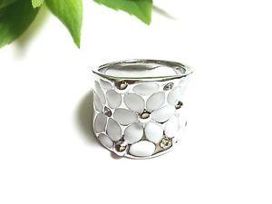 【送料無料】ブレスレット ステンレスリングシルバーホワイト anello in acciaio inox * * smalto * zirconi * argento * bianco * fiore * tg 57