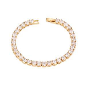 【送料無料】ブレスレット テニスブレスレットゴールドbracciale tennis donna ottone oro zirconi 180x5x5mm