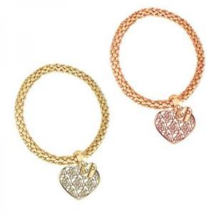 【送料無料】ブレスレット カフリュジョラグジュアリーメッキゴールドbracciale donna liu jo luxury trama ottone gold dorato ros cuore charms heart
