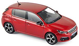【送料無料】模型車 モデルカー スポーツカー プジョーレッドメタリックレッドpeugeot 308 gt 2017 ultimate red rot metallic 143 norev