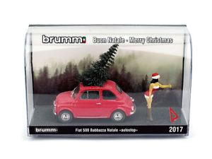 【送料無料】模型車 モデルカー スポーツカー ハムフィアットクリスマスオートストップs1735 brumm fiat 500f weihnachten 2017 natale autostop schwarz 143