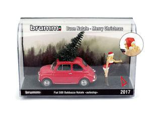 【送料無料】模型車 モデルカー スポーツカー ハムフィアットクリスマスオートストップブロンドs1735 brumm fiat 500f weihnachten 2017 natale autostop blond 143