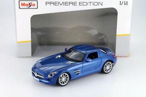 【送料無料】模型車 モデルカー スポーツカー メルセデスベンツmercedesbenz sls amg baujahr 2009 blau 118 maisto