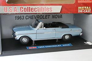 【送料無料】模型車 モデルカー スポーツカー サンスターシボレーノバsun star 118 chevrolet nova 1963 bleue