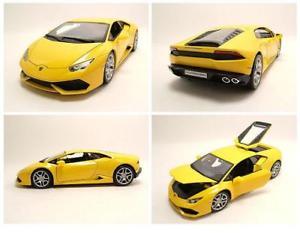 【送料無料】模型車 モデルカー スポーツカー ランボルギーニイエローメタリックモデルカーlamborghini huracan lp6104 2014 gelb metallic, modellauto 118 burago