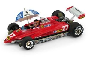 【送料無料】模型車 モデルカー スポーツカー フェラーリターボグランプリデルヴィルヌーブコンハムチューferrari 126c2 turbo gp del brasile 1982 gvilleneuve con ombrello brumm r593chu