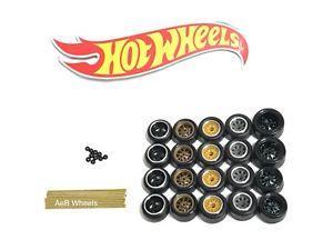 【送料無料】模型車 モデルカー スポーツカー ホットホイールリアルライダーホイールタイヤホイールアライメントキットビルダーロットhot wheels 164 real riders wheelstiresaxle builder ezpz 5 set kit loose lot b
