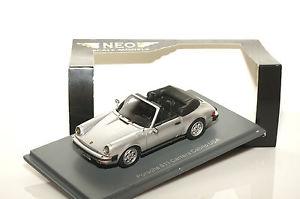 【送料無料】模型車 モデルカー スポーツカー ネオスケールモデルアメリカポルシェカレラカブリオレneo scale models 43251, porsche 911 carrera cabriolet, usa 1985, silber, 143