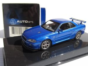 【送料無料】模型車 モデルカー スポーツカー スケールスカイライン#autoart, 143 scale, nissan skyline r34 gtr, vspec ii in blue, cond 57331