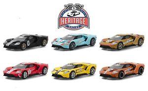 【送料無料】模型車 モデルカー スポーツカー フォードカーレーストリビュートford gt 2017 racing tribute 6 car set ** greenlight heritage 164 ovp