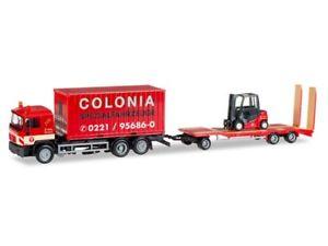 【送料無料】模型車 モデルカー スポーツカー herpa 308182 h0 lkw man f 90 container mit goldhofer tu3 und gabelstapler