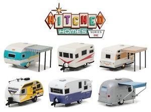 【送料無料】模型車 モデルカー スポーツカー #セットキャンピングカートレーラーヒッチ164 greenlight 2017 *hitched homes 1* complete set 6 camper trailers hitch tow