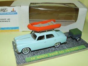 【送料無料】模型車 モデルカー スポーツカー プジョーギャラリーバトーレヴァカンスpeugeot 403 avec sa remorque et galerie bateau en route pour les vacances 143
