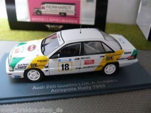 【送料無料】模型車 モデルカー スポーツカー ネオアウディクアトロラリー143 neo audi 200 quattro luk aschwarz acropolis rally 1989