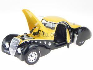 【送料無料】模型車 モデルカー スポーツカー プジョークーペダールマットブラックイエローモデルカーpeugeot 302 darl mat coupe 37 schwarzgelb modellauto 184716 norev 118