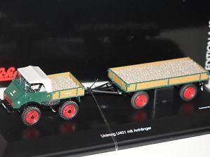 【送料無料】模型車 モデルカー スポーツカー メルセデストレーラーmercedes unimog u401 m anhnger m ladegut grn 143 schuco 3130 neu amp; ovp