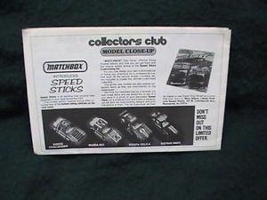【送料無料】模型車 モデルカー スポーツカー マッチコレクタクラブニュースレター1980 matchbox collectors club sletter excellent condition