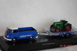 【送料無料】模型車 モデルカー スポーツカー トレーラートターvw t1c mit hnger und traktor blaugrn 143 schuco neu amp; ovp 3740