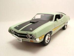 【送料無料】模型車 モデルカー スポーツカー フォードトリノコブラライトグリーンモデルカーカーワールドford torino cobra 1971 hellgrn, modellauto 118 auto world
