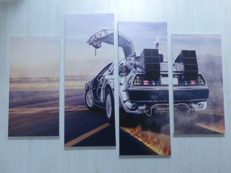 【送料無料】模型車 モデルカー スポーツカー パネルフィルムルtableau cadre x4 delorean film retour vers le futur