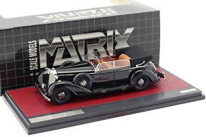 【送料無料】模型車 モデルカー スポーツカー メルセデスベンツカブリオレマトリクスmercedesbenz 770 cabriolet d open baujahr 1938 schwarz 143 matrix