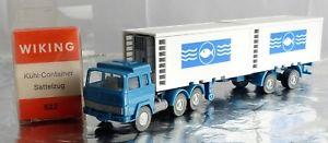 【送料無料】模型車 モデルカー スポーツカー wiking h0 522 magirus khlcontainer sattelzug *fische* wie neu, ovp, 511