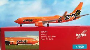 【送料無料】模型車 モデルカー スポーツカー マンゴボーイングherpa wings 1500 531351 mango boeing 737800 zssjo