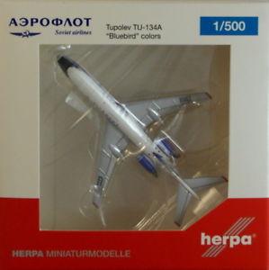 【送料無料】模型車 モデルカー スポーツカー アエロフロートツポレフherpa 529938 aeroflot tupolev tu134a bluebird colors