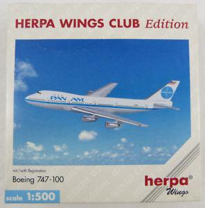 【送料無料】模型車 モデルカー スポーツカー ボーイングシリーズパンナムクラブboeing 747100 pan am n748pa wings club herpa 511834 1500 in ovp [m3]