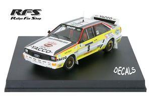 【送料無料】模型車 モデルカー スポーツカー アウディクワトロツールドコルスラリーaudi quattro yacco darniche rallye tour de corse 1984 143 trofeu 1621
