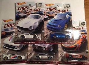 【送料無料】模型車 モデルカー スポーツカー ホットホイールドーナツダットサンマクラーレンセットhot wheels 2017 car culture cars amp; donuts datsun 240z mclaren bmw wrx set of 5