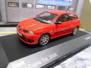 【送料無料】模型車 モデルカー スポーツカー seat ibiza cupra tdi 2006 rot red 3 trer mk3 iii ixo white box 143