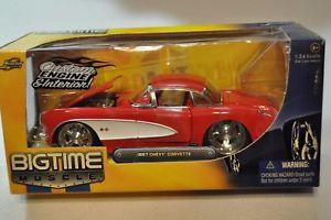【送料無料】模型車 モデルカー スポーツカー ビッグタイムシボレーコルベットc1124jada big time muscle~1957 chevy corvette 124~never opened~nib
