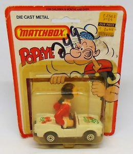 【送料無料】模型車 モデルカー スポーツカー ヴィンテージマッチポパイオリーブvintage 1980 matchbox popeye olives convertible car die cast metal sealed