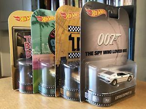 【送料無料】模型車 モデルカー スポーツカー ホットホイールレトロエンターテインメントタクシージェームズボンドロットhot wheels retro entertainment taxi james bond lotus 90210 brady bunch 4car lot