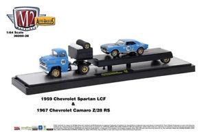 【送料無料】模型車 モデルカー スポーツカー マシンホーラシボレーカマロスパルタm2 machines auto hauler 28 1959 chevrolet spartan lcf and 1967 camaro z28 rs