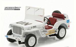 【送料無料】模型車 モデルカー スポーツカー ダイカストジープホワイト#greenlight 143 diecast 19411945 willys mb jeep un united nations white 86308