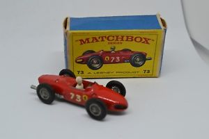 【送料無料】模型車 モデルカー スポーツカー マッチビンテージフェラーリレーシングカーボックスmatchbox lesney vintage no 73 ferrari racing car boxed 1960s aw