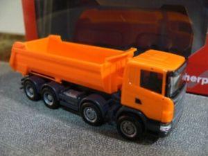 【送料無料】模型車 モデルカー スポーツカー スカニアトラックオレンジ187 herpa scania r rundmuldenlkw 4achs orange 306386