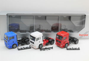 【送料無料】模型車 モデルカー スポーツカー 187 em4241 herpa 3x man zm blau wei rot neu fr umbau eigenbau