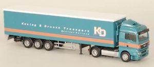 Herpa 076784 h0 camiones schmitz gardinenplanenauflieger 3-Trailer con mitnahmestapler