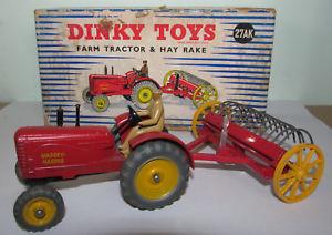 【送料無料】模型車 モデルカー スポーツカー マッシーハリストターセットb rare dinky toys 27ak massey harris farm tractor and hayrake set