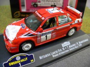 【送料無料】模型車 モデルカー スポーツカー ランサー#143 vitesse mitsubishi lancer evovi mkinenmannisenmaki 1999 1 skw99003