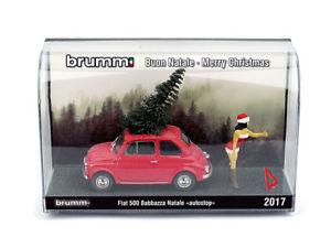 【送料無料】模型車 モデルカー スポーツカー フィアットメリークリスマスハム143 fiat 500 buon natale merry christmas autostoppista mora brumm s1715m