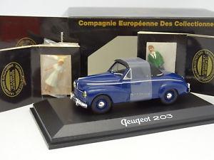 【送料無料】模型車 モデルカー スポーツカー プジョーカブリオレnorev cec 143 peugeot 203 cabriolet bleue 2 figurines