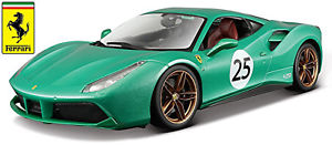 【送料無料】模型車 モデルカー スポーツカー フェラーリ#グリーングリーンメタリックコレクションferrari 488 gtb 25 grn green metallic 70th anniversary collection 118 bburago