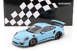 【送料無料】模型車 モデルカー スポーツカー ポルシェグアテマラブラックリムporsche 911 991 gt3 rs baujahr 2015 gulf blau mit schwarzen felgen 118 minich
