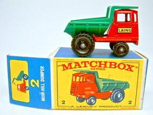 【送料無料】模型車 モデルカー スポーツカー マッチミュアヒルダンパーボックスオンmatchbox rw 02c muir hill dumper perfekt rare spte e box