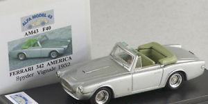 【送料無料】模型車 モデルカー スポーツカー フェラーリアメリカクモシルバーアルファモデルalfa model 43 am43f40 ferrari 342 america spider vignale silver