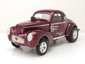 【送料無料】模型車 モデルカー スポーツカー トンプソンレッドモデルカーwillys gasser 1941 thompson and poole rot modellauto 118 acme